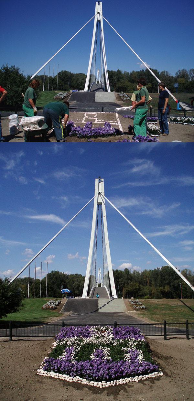 Uređenje prostora oko mosta  Foto: Jasmina Gorjanski  Ključne riječi: most unikom