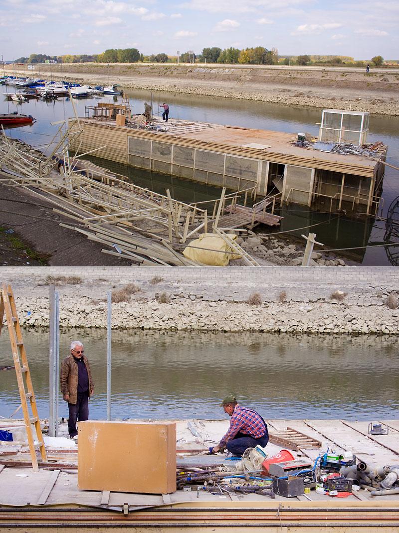 Demontiranje potopljenog pontona  Foto: Cacan  Ključne riječi: ponton mirna luka zimska restoran