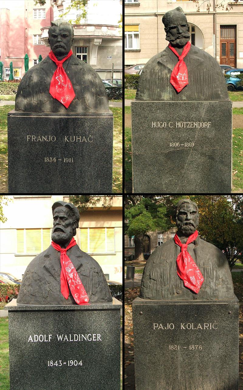 Sakuntala park - statue s kravatama  18.10. - Dan kravate  Foto: Zuhra  Ključne riječi: sakuntala_park statue kravata