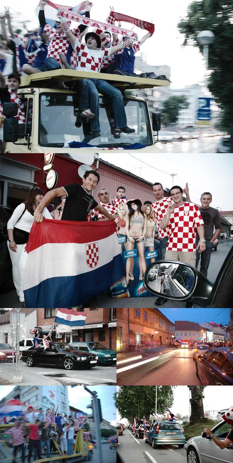 Hrvatska - Austrija, slavlje pobjede!  Samo djelić atmosfere večerašnjeg slavlja na ulicama Osijeka.  Foto: Dario Modrić  Ključne riječi: euro 2008 hrvatska austrija nogomet