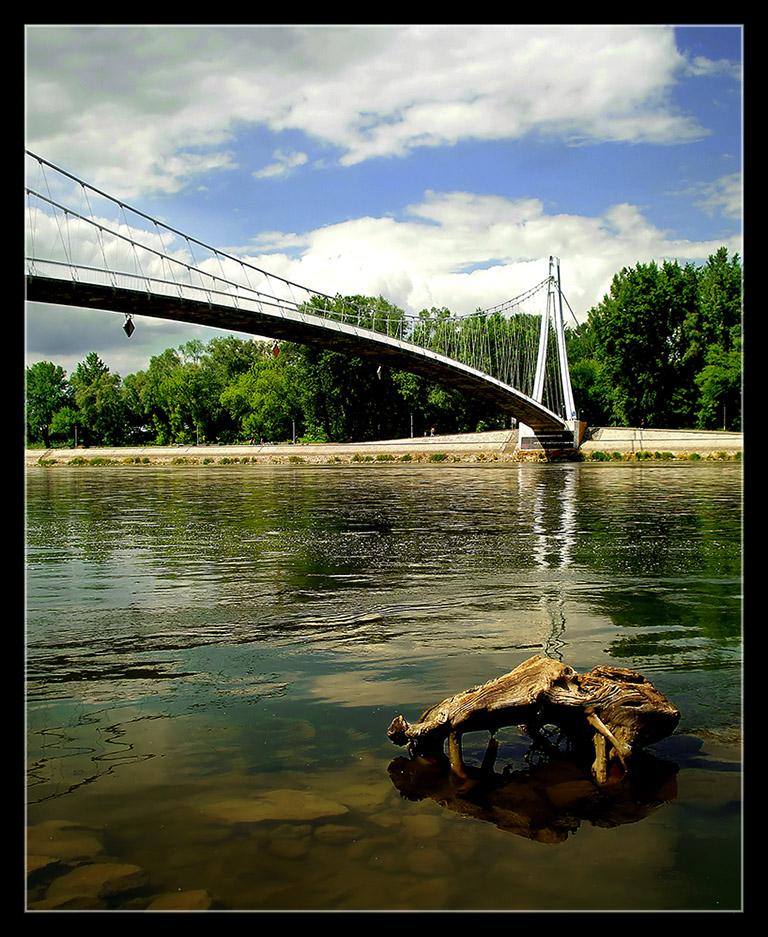 Most...  Foto: grrrrrrrr  Ključne riječi: most drava dravski panj rijeka osijek