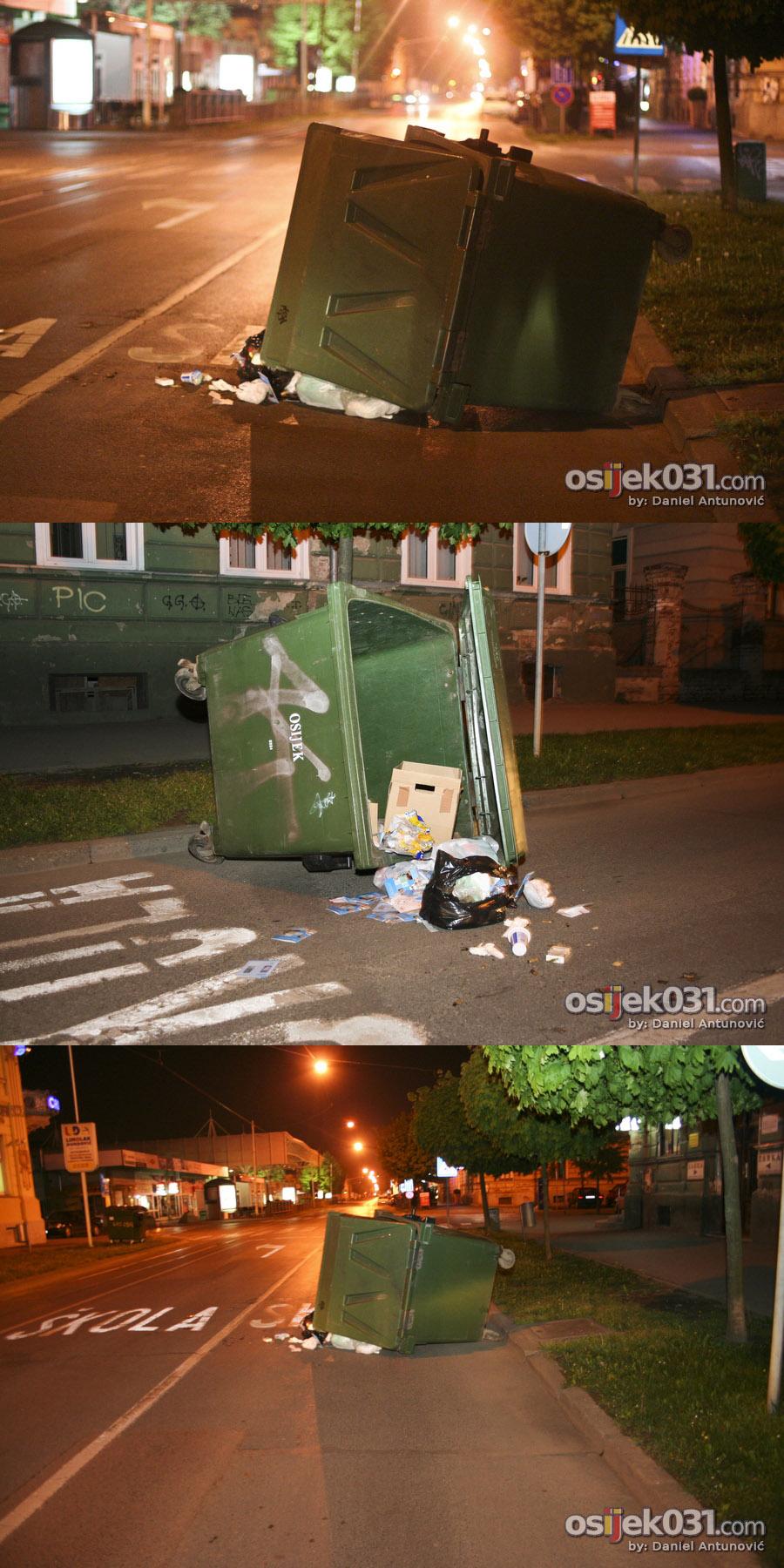 'Kultura'  Fotografije snimljene u Radićevoj ulici, u nedjelju 25. travnja 2010. u 02:00h  Foto: [b]Daniel Antunović[/b]  Ključne riječi: smece kontejner vandal radiceva