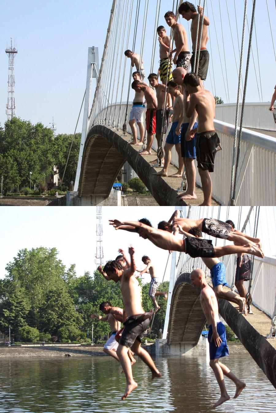 Skakači s mosta  Foto: [b]Goran Flauder[/b]  Ključne riječi: skakaci most plivanje