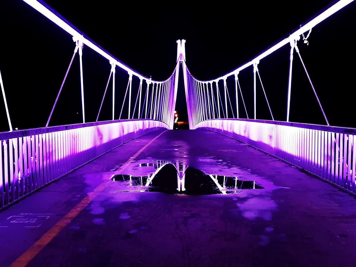 Osječki most  Foto: Hrvoje Rikert  Ključne riječi: Most Voda Boja Noc