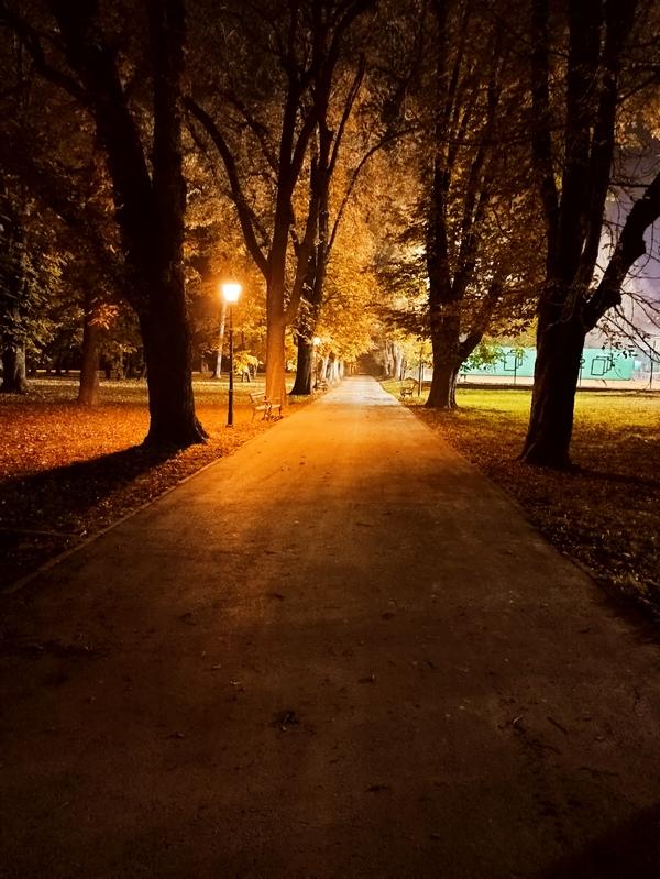 Ulična rasvjeta  Foto: Sebastijan Lazar  Ključne riječi: Park Noc Jesen