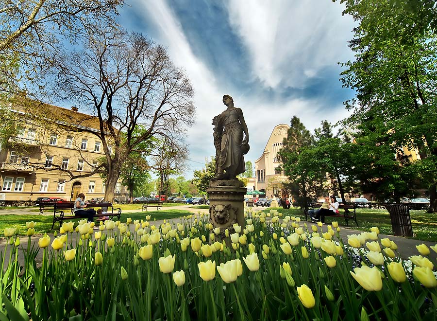 Osječko zelenilo  Foto: Jasmina Gorjanski  Ključne riječi: osijek zelenilo park spomenik